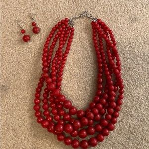 Jewelry - Red Necklace with Matching Earrings